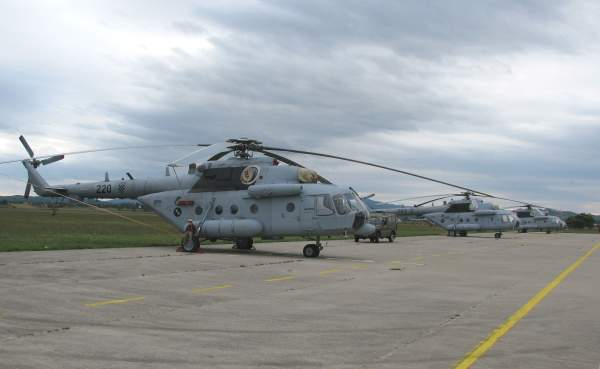 The Croatian Air Force Mi-171Sh military transport helicopters parked at Lučko Airbase. Image courtesy of Suradnik13.