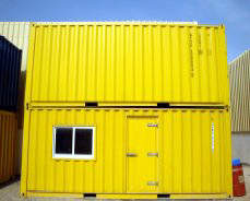 Modular camp container set up on a construction site
