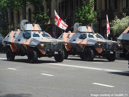 A pair of Didgori armoured personnel carriers participating in the Georgian Independence Day military parade.