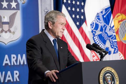 President George W Bush addressing students at Carlisle Barracks' US Army War College.