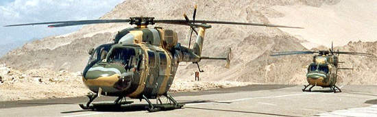 The Dhruv is a 5.5t class helicopter which can carry up to 14 passengers.