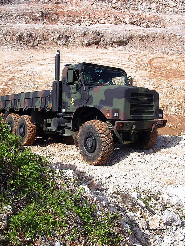 The MTVR cargo/personnel transport vehicle can run on tough terrains. US Navy photo by Photographer's Mate Airman Lamel J. Hinton.