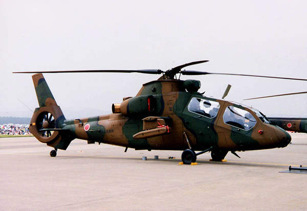 A Kawasaki OH-1 observation helicopter of the JGSDF stationed at Matsushima Air Base.