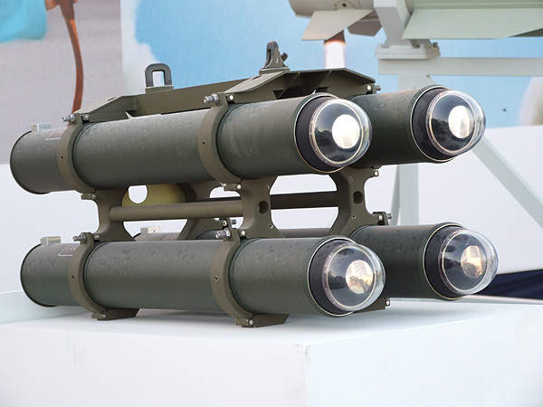 Quad launcher pack carrying four LAser Homing Attack Missiles (LAHAT) for helicopters. Image courtesy of Natan Flayer.