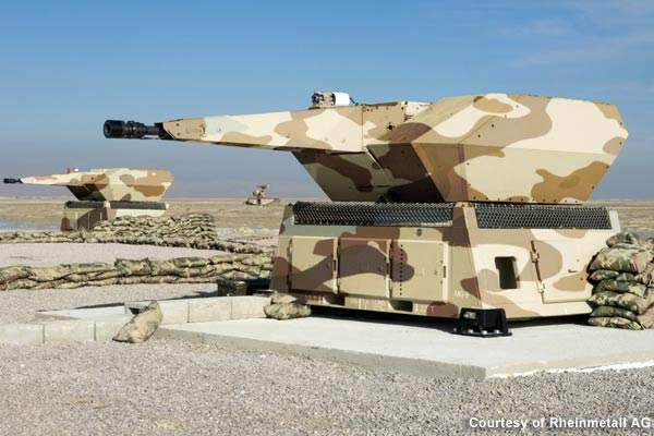 The NBS MANTIS is equipped with six 35mm automatic guns, two sensor units and a ground control unit.