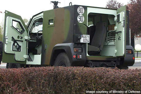 The French Army Petit Véhicule Protégé (PVP) with side and rear doors open.