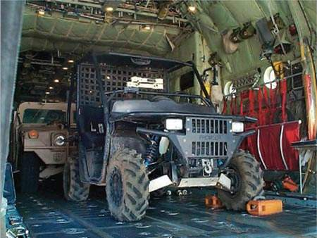 Prowler Military Off Road Vehicle in a Cargo Hold