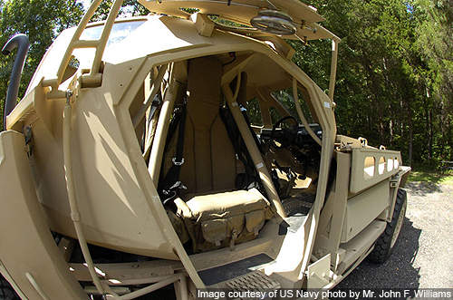 A close view of the internal layout of the Ultra armoured patrol vehicle.