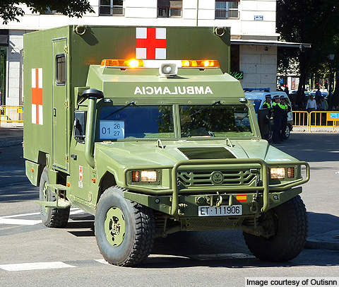 A VAMTAC S3 ambulance variant used the Spanish Army.