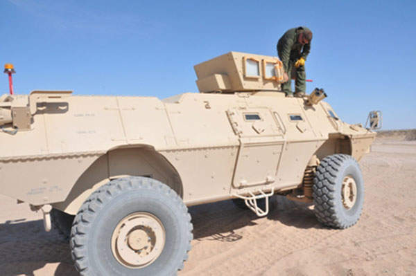 A Mobile Strike Force Vehicle being prepared for testing at the Yuma Proving Ground. Image courtesy of Mark Schauer.