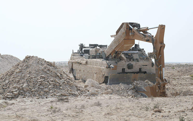 A WISENT 2 armoured support vehicle during trails in Abu Dhabi.