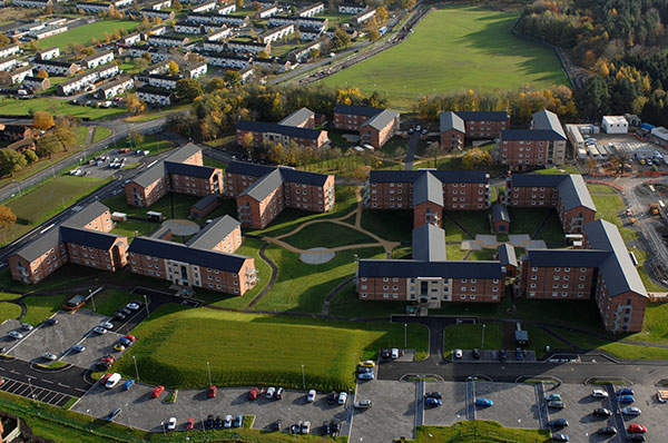 Aerial view of the modernised Single Living accommodation (SLA) buildings which are part of Project SLAM being undertaken by Corus, Crown Copyright.
