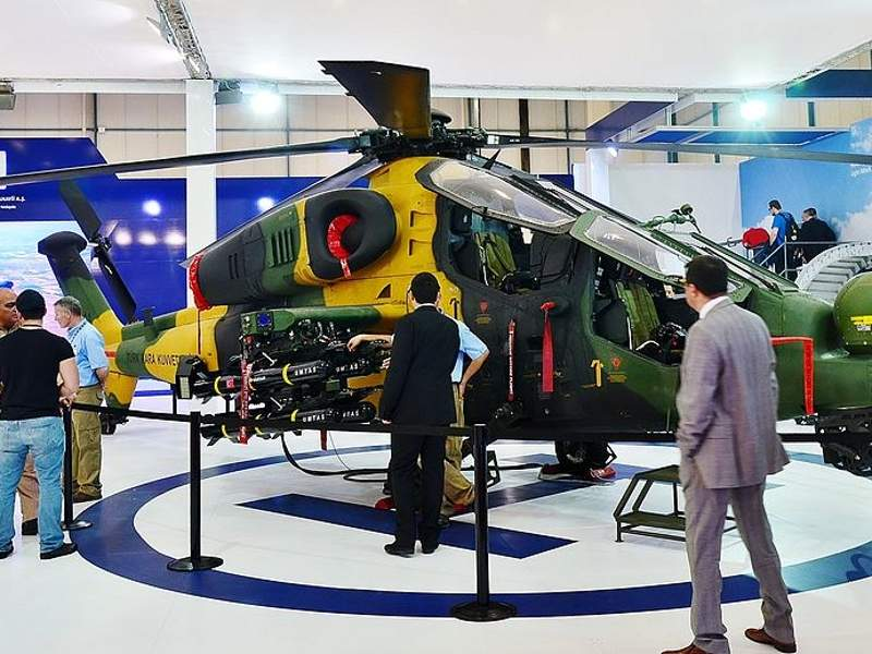 A T129 ATAK helicopter armed with UMTAS missiles seen during the IDEF 2015 defence exhibition. Image courtesy of CeeGee.