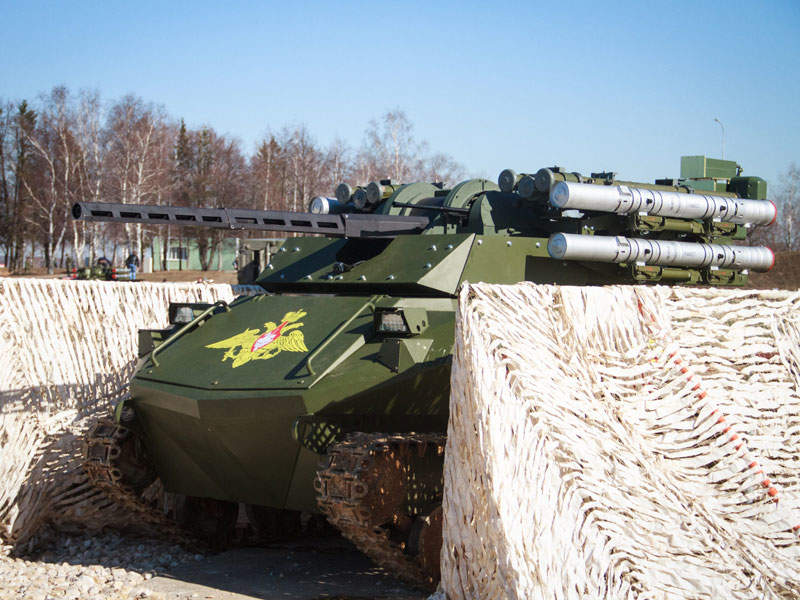The Uran-9 unmanned ground vehicle has a maximum road speed of 35km/h. Image courtesy of ROSOBORONEXPORT.