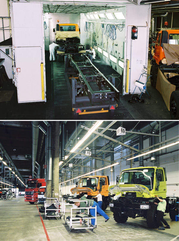 The Mercedes-Benz Unimog U 3000 - U 5000 series production line in Wörth.