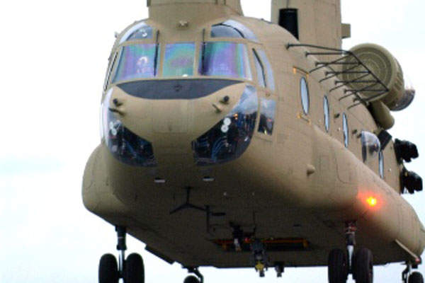 The ICH-47F Chinook helicopter is powered by two Honeywell 55-L-714A engines.