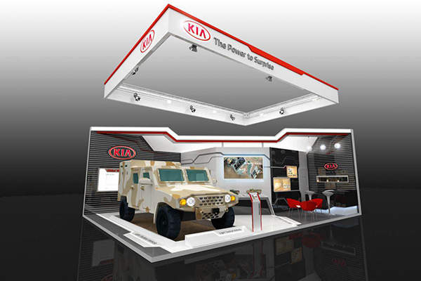 The Kia light tactical vehicle was exhibited at IDEX 2015.