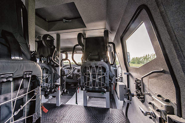The Sentry APC has seating for eight passengers and crew. Image: courtesy of INKAS Armoured Vehicle Manufacturing.