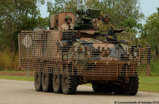 An ASLAV fitted with new bar armour participating in the 1 Brigade mission rehearsal exercise in Darwin.