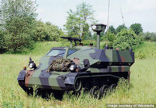 Wiesel 2 command post vehicle with a roof mounted HARD radar system.