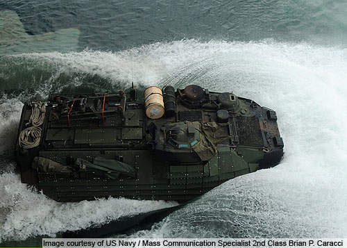 A sky view of the amphibious assault vehicle (AAV) assigned to Alpha Company of the 2nd Assault Amphibian Battalion.