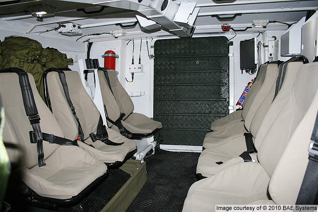The section crew seating arrangement of the RG41 armoured combat vehicle.