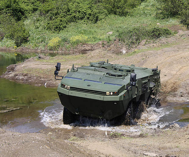 The amphibious vehicle can travel at a top speed of 105km/h.
