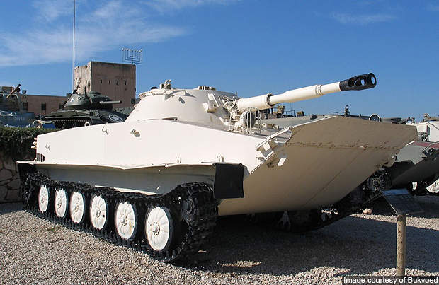 The Israeli version of the PT-76 light tank.