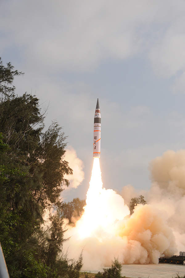 Agni-V's flight time endured 20 minutes and the third stage fired the re-entry vehicle. Image courtesy of DRDO.