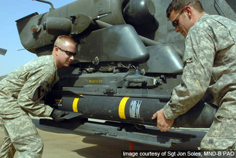 The US Army soldiers load a Hellfire II missile onto the mounting bracket of an AH-64D Apache helicopter.