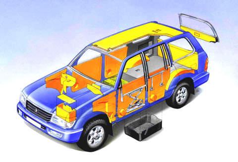 Diagram of EURCOM's discreet vehicle armour protection