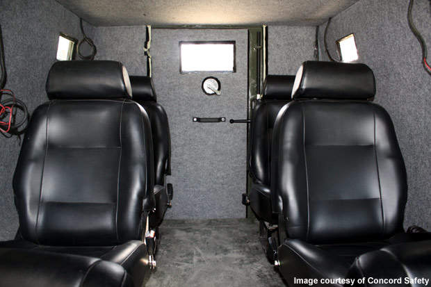 Seating within the Concord 8 (C8) lightweight armoured vehicle.