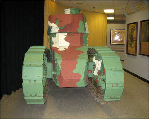 A Renault FT-17 tank, on display in Carlisle Barracks' Army Heritage . The FT-17 is considered one of the templates for modern tank design, and was the first to have its armament in a fully rotating turret.