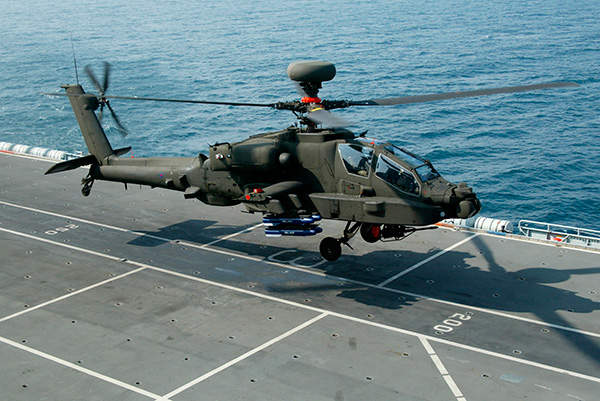 The Apache AH Mk1 attack helicopter can be operated from naval warships.