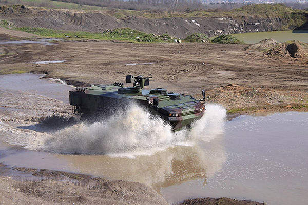 The ARMA 8x8 can be configured as an amphibious vehicle.