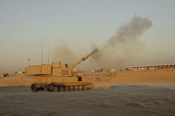 The M109A7 155mm artillery system can fire at a sustained rate of one round per minute. Credit: US Army.