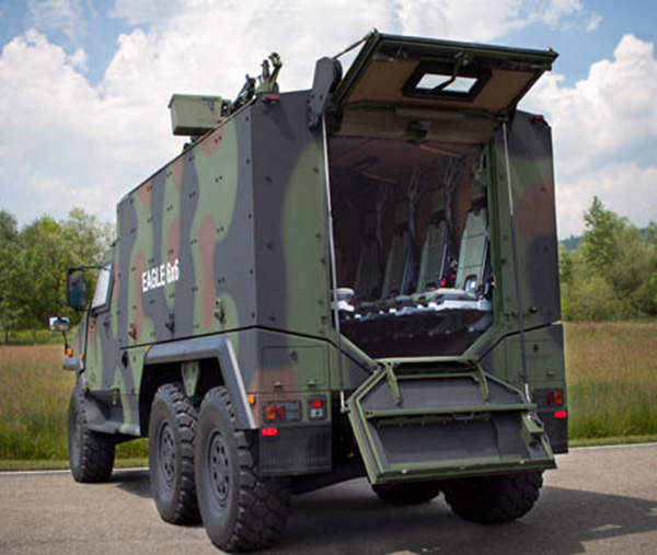 A rear side view of the Eagle 6x6 light tactical vehicle.