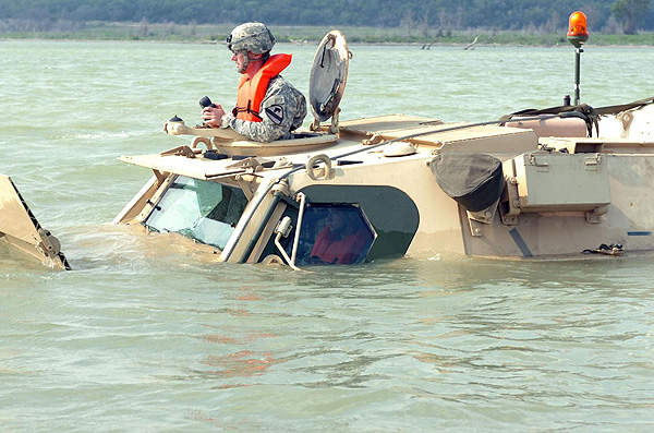 The M93/M93A1 has an amphibious speed of  9.6km/h