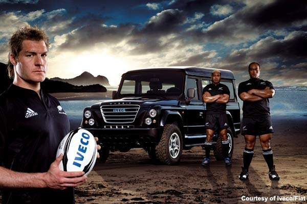 New Zealand All Blacks with the Iveco Massif vehicle