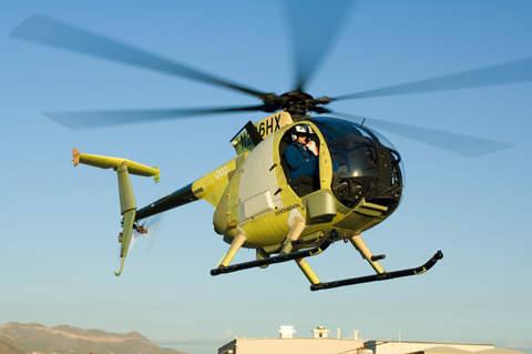 A/MH-6X mission-enhanced Little Bird (MELB)making first flight