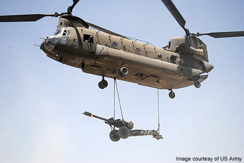 A M119 Howitzer slung under a Chinook helicopter. Credit: US Army.