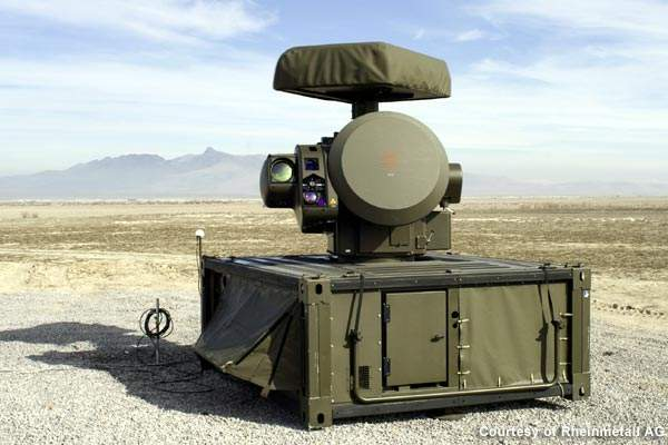 The sensor system comprises of radar, effectors and electro-optical sensors installed on the base perimeter.