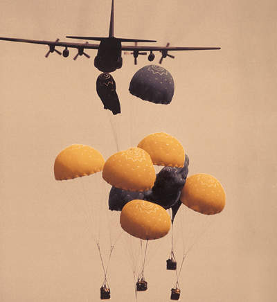 Plane deploying high altitude air drop system