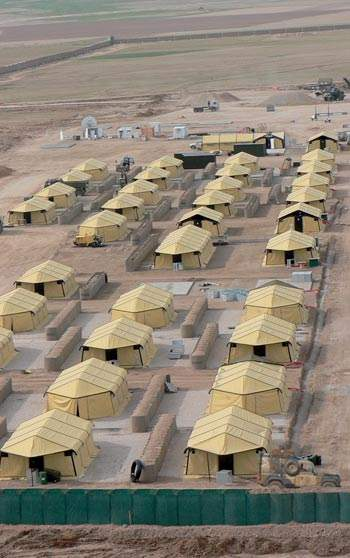 Large amount of SEYNTEX tents in desert setting
