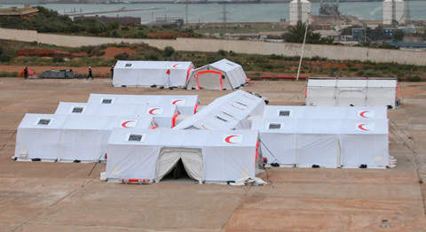 Mobile field hospital made up of tents