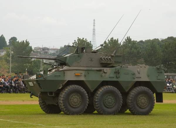 A Type 87 reconnaissance and patrol vehicle on display at the JGSDF Ordnance School in Tsuchiura, Japan. Image courtesy of Max Smith.