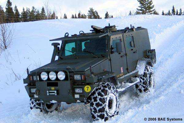 32M mine hardened patrol vehicle in snow.