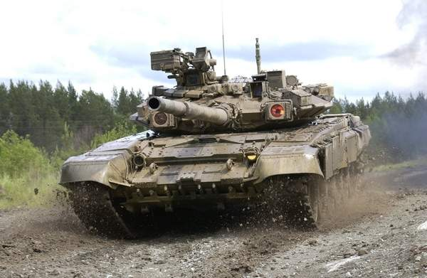 The T-90 tank is protected by both conventional armour-plating and explosive reactive armour