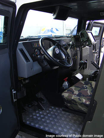 Driver's compartment of the Tur light armoured vehicle.