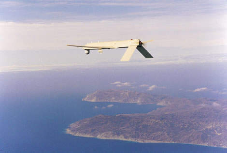 IGNAT-ER system UAV flying above the sea and coast